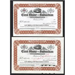 East Shore and Suburban Railway Co., 1910 I/C and Remainder Stock Certificate Pair.