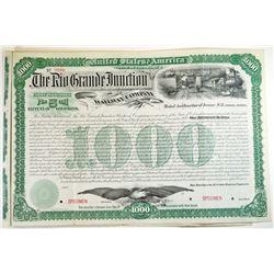 Rio Grande Junction Railway Co., 1889 Specimen Bond.