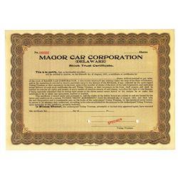 Magor Car Corp. 1920 Specimen Stock Certificate
