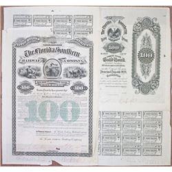 Florida Southern Railway Co. 1883 Proof Bond Rarity