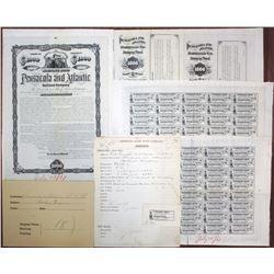 Pensacola and Atlantic Railroad Co., 1881 Unique Approval Progress Proof Bond Group Lot