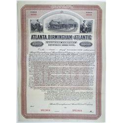Atlanta, Birmingham and Atlantic Railroad Co. 1906 Specimen Bond