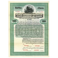 Atlantic & Birmingham Construction Co. Atlanta, Birmingham & Atlantic Railroad Co., 1912 Specimen Bo