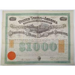 Brunswick and Albany Rail Road Co. 1869 I/U Bond With Imprinted Revenues.