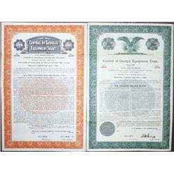 Central of Georgia Equipment Trust, 1937 and 1952  Specimen Bond Pair