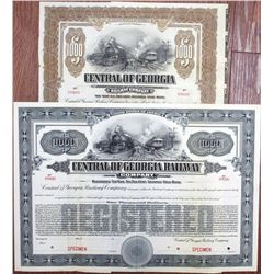 "Central of Georgia Railway Co. 1919 ""10 Year"" Specimen Bond Pair"