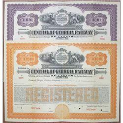"""Central of Georgia Railway Co., 1919 """"Series C"""" Specimen Bond Pair"""