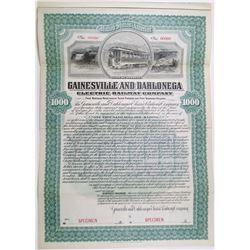 Gainesville and Dahlonega Electric Railway Co. 1901 Specimen Bond Rarity