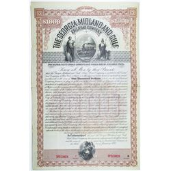 Georgia Midland and Gulf Railroad Co. 1893 Specimen Bond Rarity.