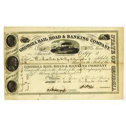 Georgia Rail Road & Banking Co., 1853 I/U Stock Certificate.