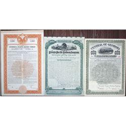 Georgia Railroads, ca. 1882-1946 Specimen and I/U Bond Trio.
