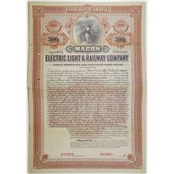 Macon Electric Light & Railway Co. 1899 Specimen Bond Rarity