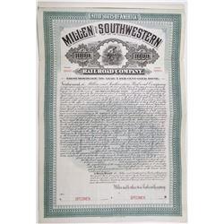 Millen and Southwestern Railroad Co. 1905 Specimen Bond