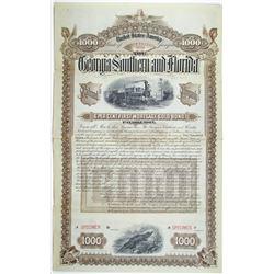 Georgia Southern and Florida Railroad Co. 1888 Specimen Bond Rarity
