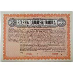 Georgia Southern and Florida Railway Co. 1915 Specimen Bond Rarity