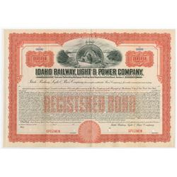 Idaho Railway, Light & Power Co., 1911 Specimen Bond