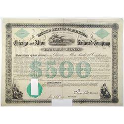 Chicago and Alton Railroad Co. 1862 I/C Bond with Samuel Tilden Signature as Trustee.