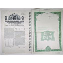 Chicago, Rock Island & Pacific Railroad Co. 1955 $1000  Progress Proof Sheet Trio.