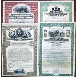 Chicago, Rock Island and Pacific Railroad & Railway Co., 1897 to 1927 Specimen Bond Quartet Rarity