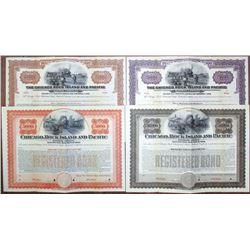 Chicago, Rock Island and Pacific Railroad & Railway, 1902 & 1927 Specimen Bond Quartet
