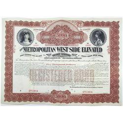 Metropolitan West Side Elevated Railway Co. 1898 Specimen Bond Rarity