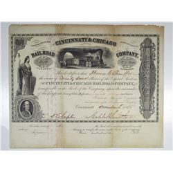 Cincinnati & Chicago Railroad Company. 1855 I/U Stock Certificate