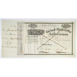 Cincinnati and Chicago Air-Line Rail Road Co. 1861 I/C Stock Certificate