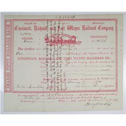 Cincinnati, Richmond and Fort Wayne Railroad Co. 1874 I/C Stock Certificate