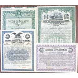 Indiana Railroad Specimen Bond Quartet, ca.1906-1930