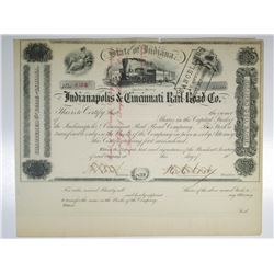 Indianapolis & Cincinnati Rail Road Co., ND (1850-60's) U/C  Stock Certificate