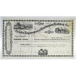 Toledo, Logansport & Burlington Railway Co. 1866 I/U Stock Certificate