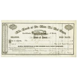 Albia, Knoxville and Des Moines Rail Road Co., 1904 I/U Stock Certificate