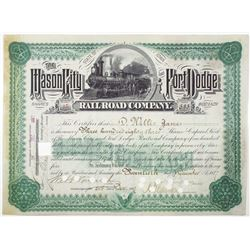 Mason City & Fort Dodge Railroad Co., 1887 I/C Stock Certificate