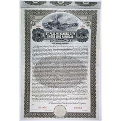 St. Paul & Kansas City Short Line Railroad Co. 1911 Specimen Bond Quartet