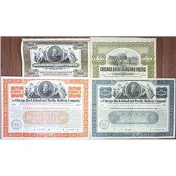 Chicago, Rock Island and Pacific Railway Co. Specimen Bond Quartet, ca. 1898-1904