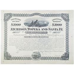 Atchison, Topeka and Santa Fe Railroad Co., 1880 Proof Bond Rarity
