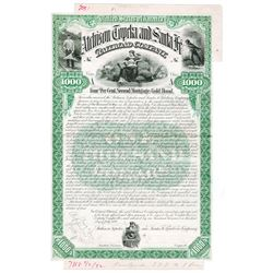 Atchison, Topeka and Santa Fe Railroad Co., 1892 Unique Approval Bond Proof Pair.