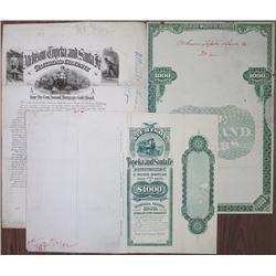 Atchison, Topeka and Santa Fe Railroad Co., 1892 Unique Approval Progress Proof Bond & Production Ma