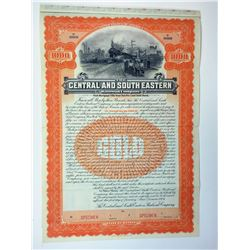 Central and South Eastern Railroad Co., 1906 Specimen Bond