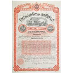 Chicago, Kansas and Western Railroad Co. 1886 Bond Rarity