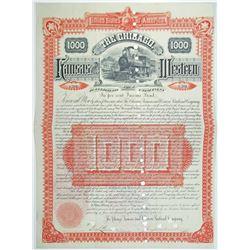 Chicago, Kansas and Western Railroad Co. 1886 I/C Bond