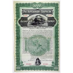 Hutchinson and Southern Railway Co. 1898 Specimen Bond Rarity