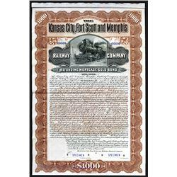 Kansas City, Fort Scott and Memphis Railway Co. 1901 Specimen Bond