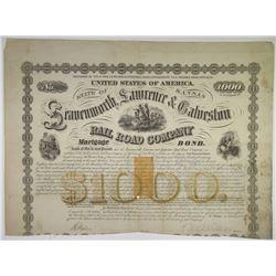 Leavenworth, Lawrence & Galveston Rail Road Co., 1869 I/C Bond with U.S.I.R. Imprinted Revenue.