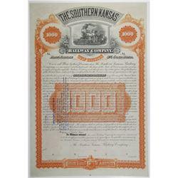 Southern Kansas Railway Co. 1886 Specimen Bond Rarity