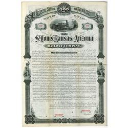 St. Louis, Kansas and Arizona Railway Co. 1880 Specimen Bond Rarity