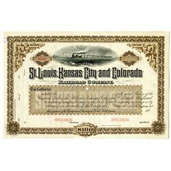 St. Louis, Kansas City and Colorado Railroad Co., 1880's Specimen Stock Certificate
