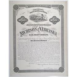 Atchison and Nebraska Rail Road Co., 1878 Progress Proof Bond Rarity