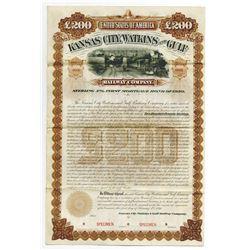Kansas City, Watkins and Gulf Railway Co. 1890 Unique Specimen Bond