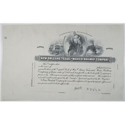 New Orleans, Texas and Mexico Railway Co., 1910-20's Progress Proof Stock Certificate